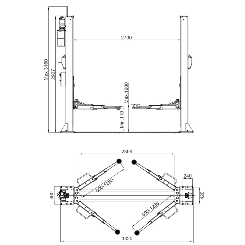 PVL3500 Two Post Lift dimensions