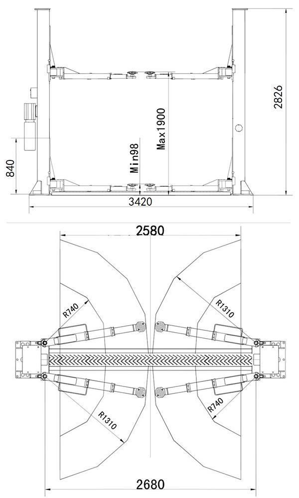 Atlas Platinum PVL4000 2 Post Lift Dimensions.